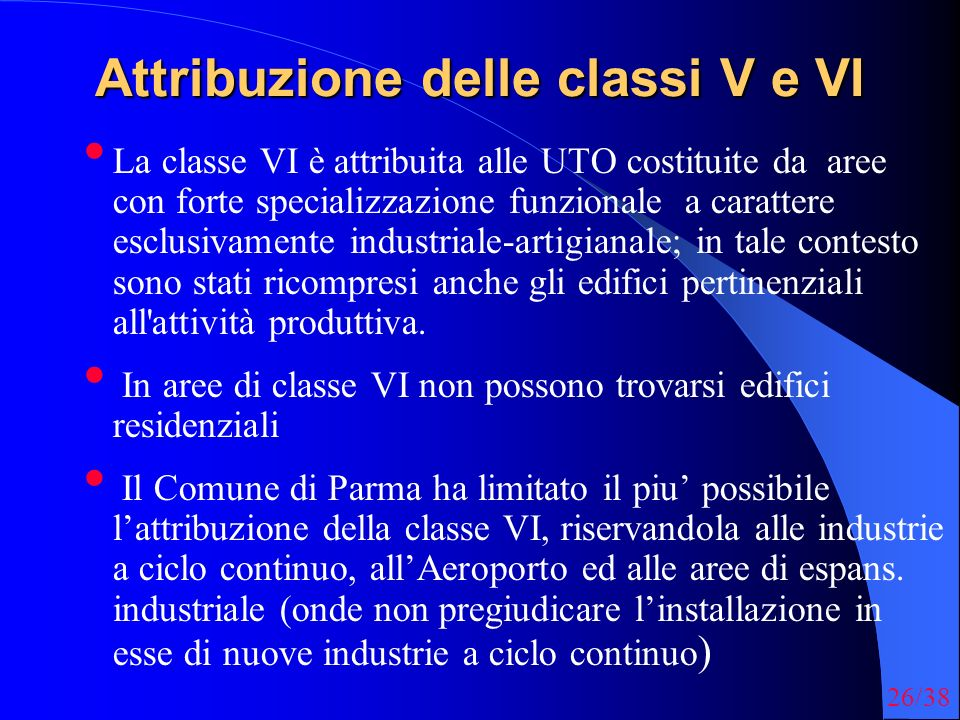 Attribuzione delle classi V e VI