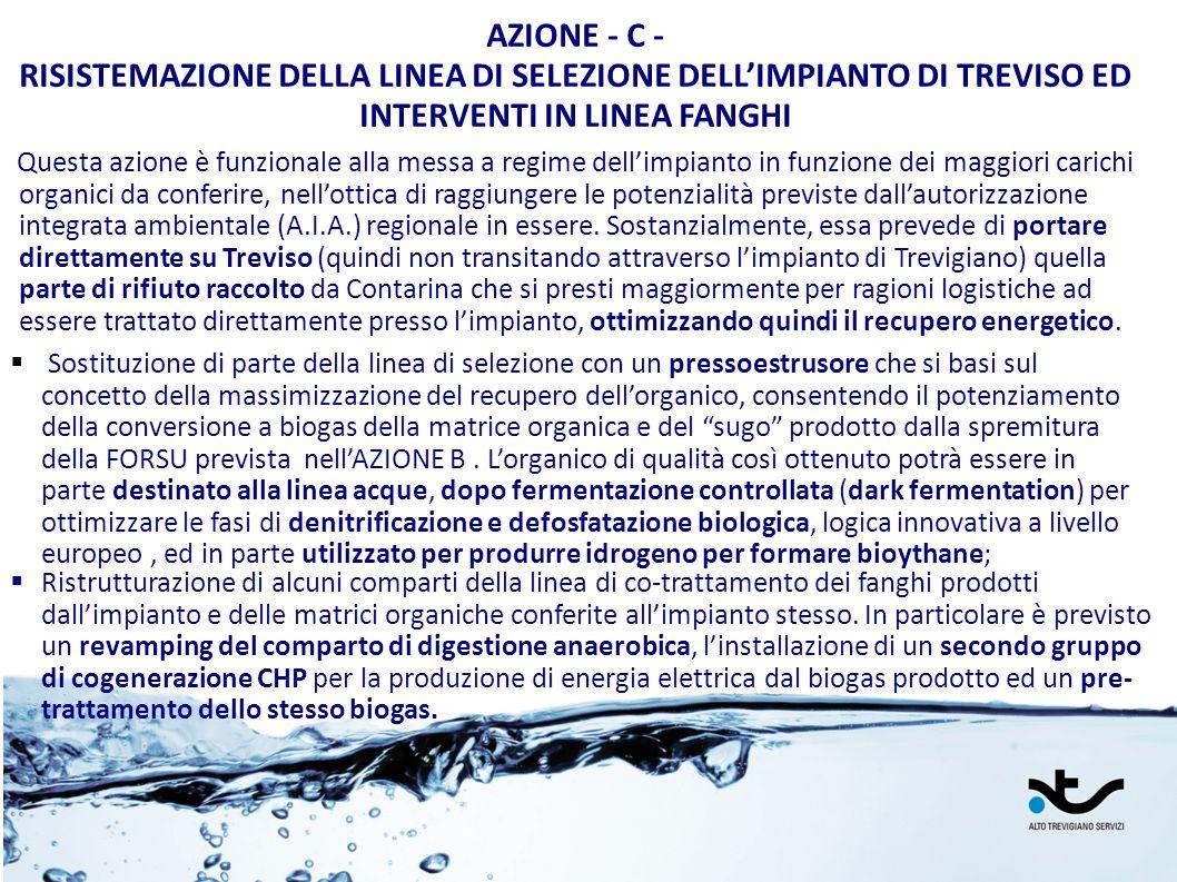 AZIONE - C - RISISTEMAZIONE DELLA LINEA DI SELEZIONE DELL'IMPIANTO DI TREVISO ED INTERVENTI IN LINEA FANGHI.