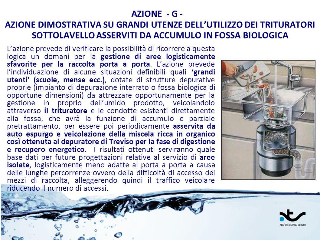 AZIONE - G - AZIONE DIMOSTRATIVA SU GRANDI UTENZE DELL'UTILIZZO DEI TRITURATORI SOTTOLAVELLO ASSERVITI DA ACCUMULO IN FOSSA BIOLOGICA