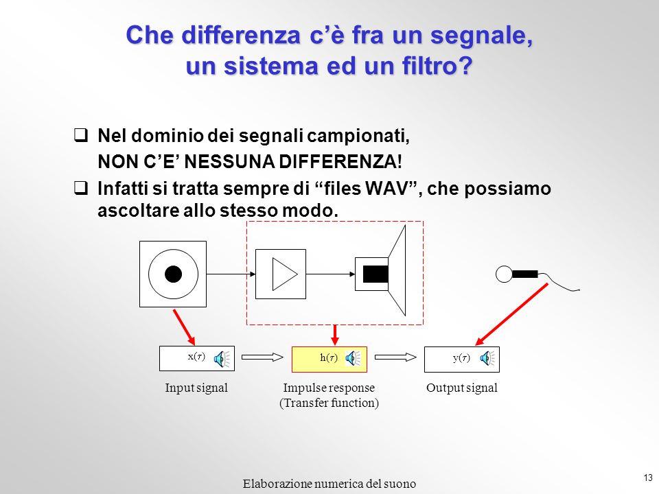 Che differenza c'è fra un segnale, un sistema ed un filtro