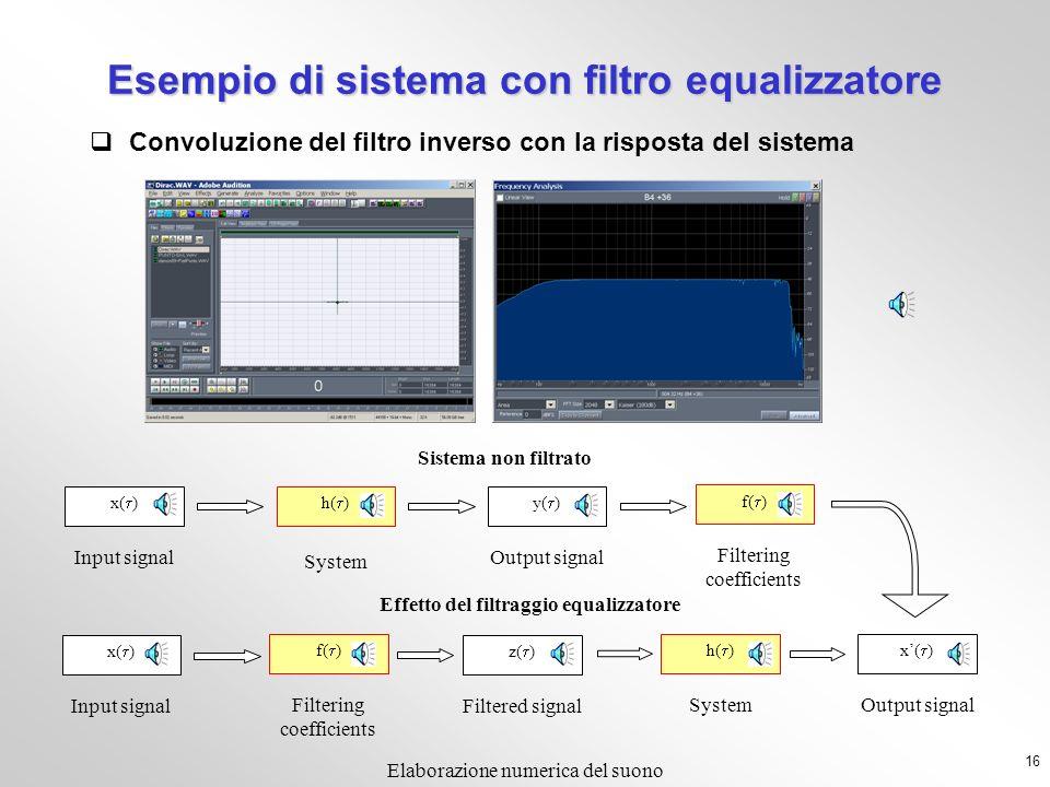 Esempio di sistema con filtro equalizzatore