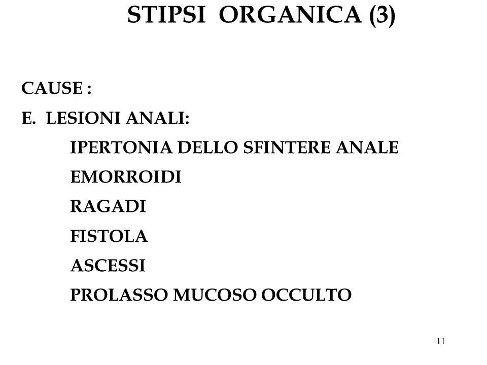 STIPSI ORGANICA (3) CAUSE : E. LESIONI ANALI: