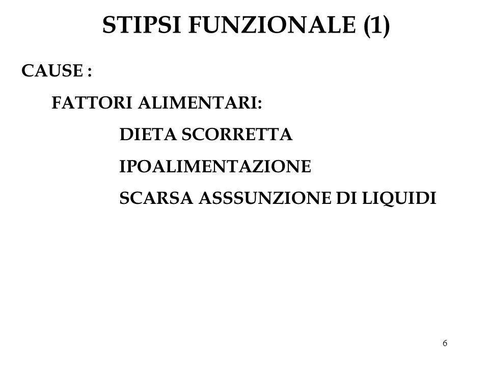 STIPSI FUNZIONALE (1) CAUSE : FATTORI ALIMENTARI: DIETA SCORRETTA