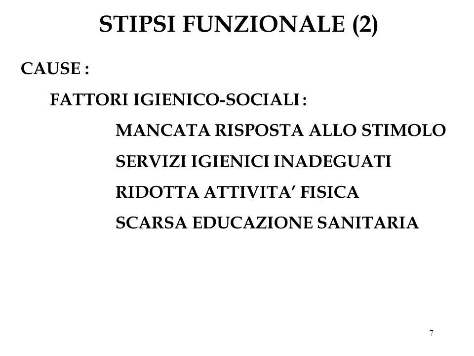 STIPSI FUNZIONALE (2) CAUSE : FATTORI IGIENICO-SOCIALI :