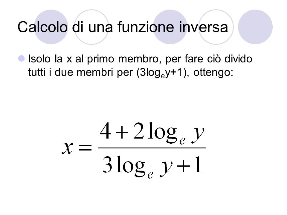 Calcolo di una funzione inversa