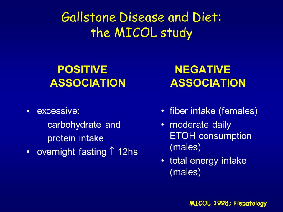 Gallstone Disease and Diet: the MICOL study