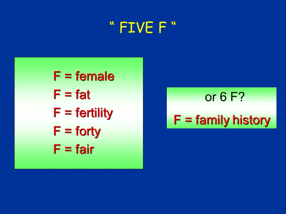 FIVE F F = female F = fat F = fertility or 6 F F = forty