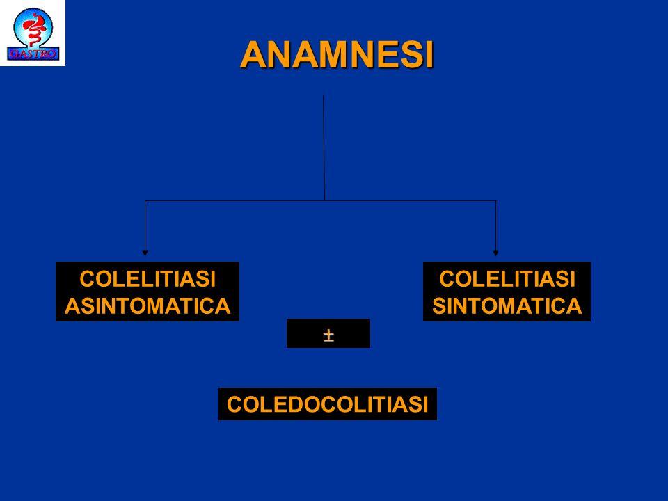 ANAMNESI COLELITIASI ASINTOMATICA COLELITIASI SINTOMATICA