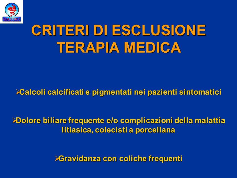 CRITERI DI ESCLUSIONE TERAPIA MEDICA