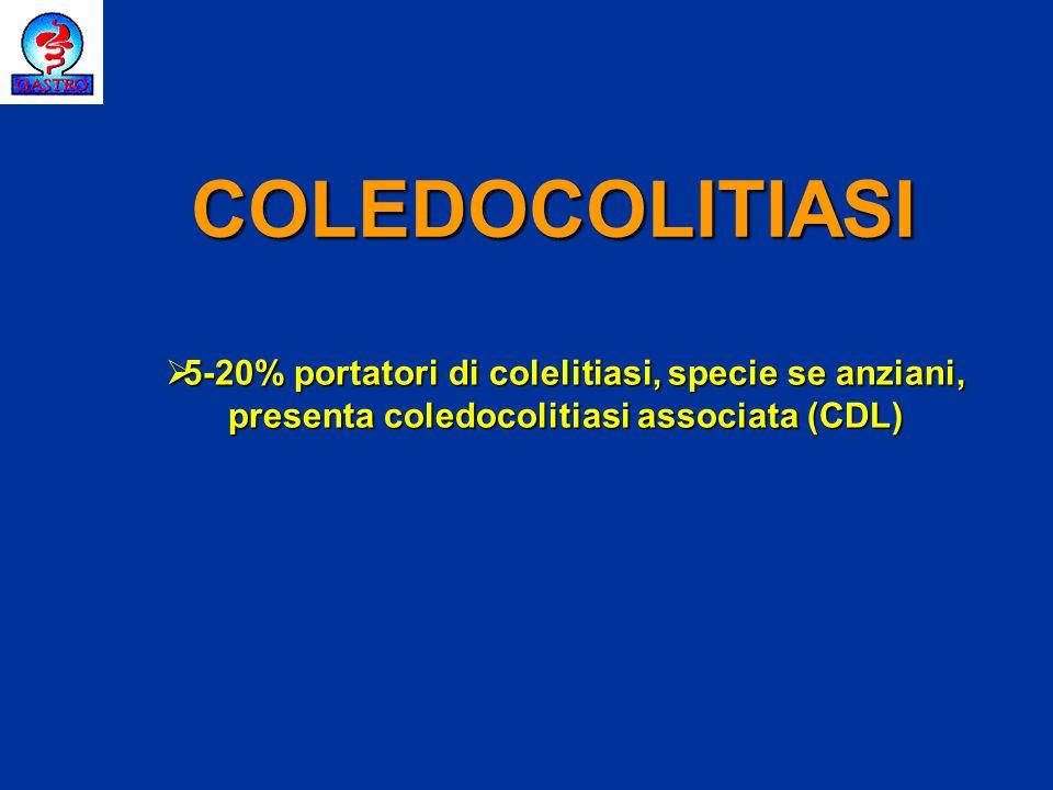 COLEDOCOLITIASI 5-20% portatori di colelitiasi, specie se anziani, presenta coledocolitiasi associata (CDL)