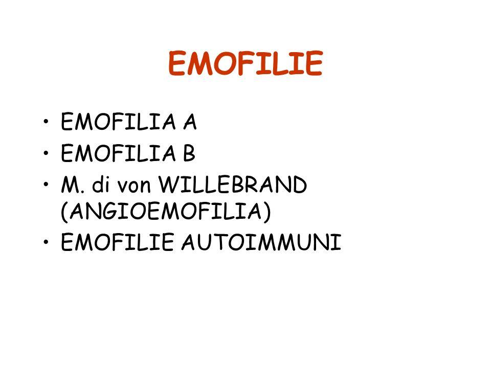 EMOFILIE EMOFILIA A EMOFILIA B M. di von WILLEBRAND (ANGIOEMOFILIA)