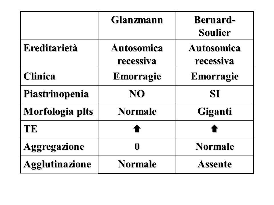 Glanzmann Bernard-Soulier. Ereditarietà. Autosomica recessiva. Clinica. Emorragie. Piastrinopenia.