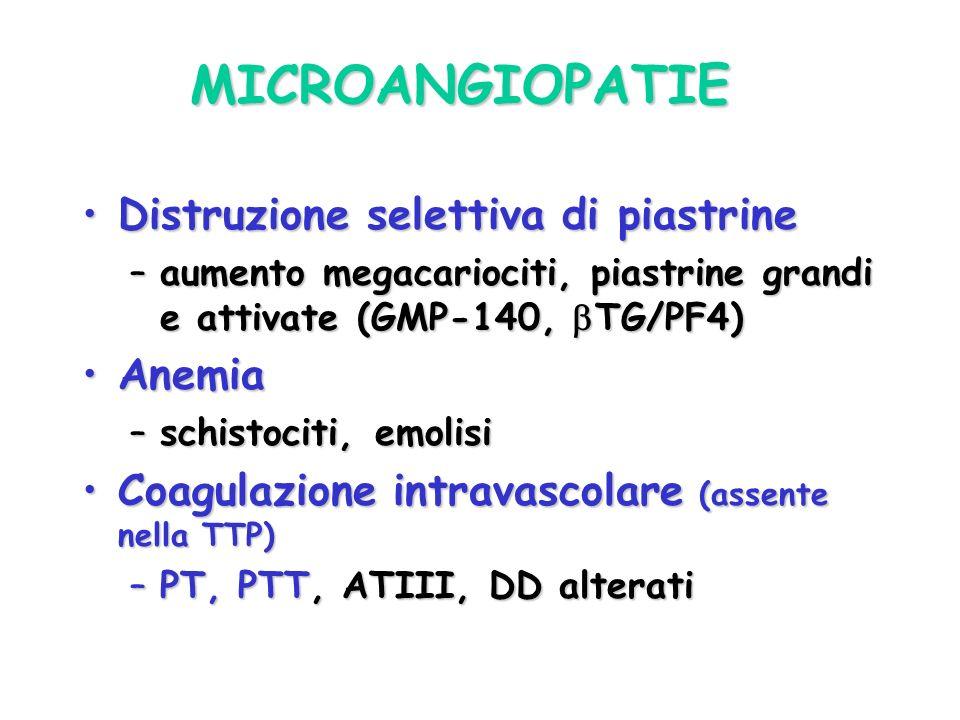 MICROANGIOPATIE Distruzione selettiva di piastrine Anemia