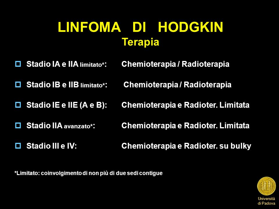 LINFOMA DI HODGKIN Terapia