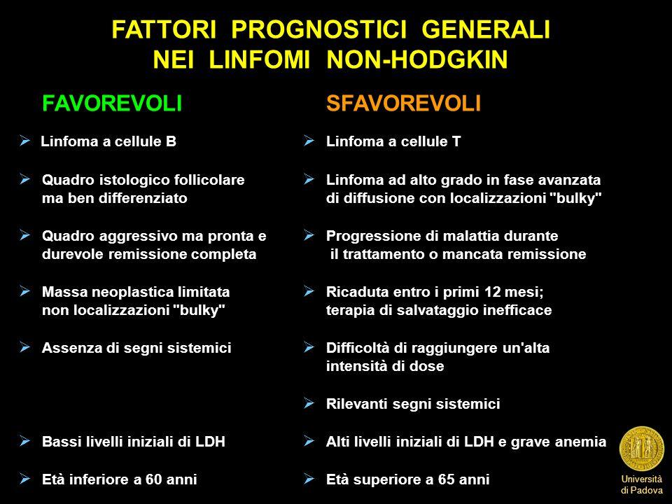 FATTORI PROGNOSTICI GENERALI NEI LINFOMI NON-HODGKIN
