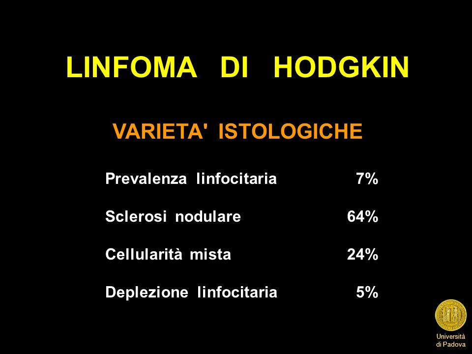 LINFOMA DI HODGKIN VARIETA ISTOLOGICHE Prevalenza linfocitaria 7%