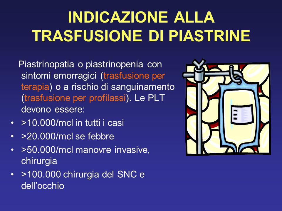 INDICAZIONE ALLA TRASFUSIONE DI PIASTRINE