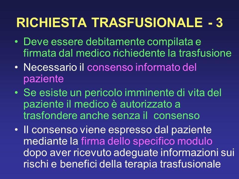 RICHIESTA TRASFUSIONALE - 3