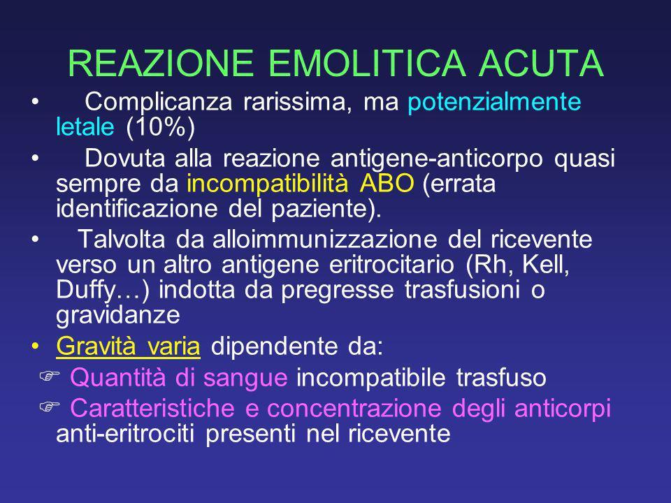 REAZIONE EMOLITICA ACUTA