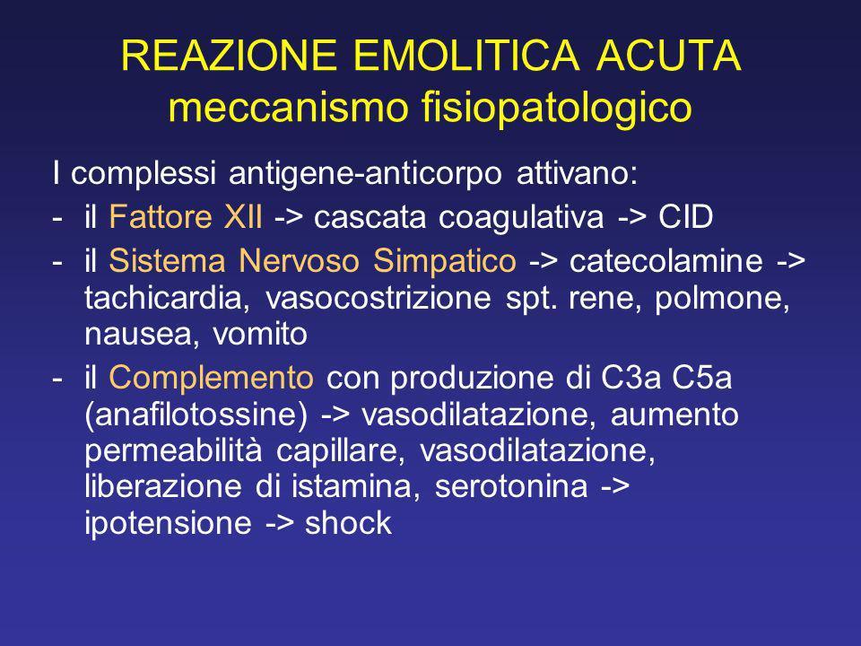 REAZIONE EMOLITICA ACUTA meccanismo fisiopatologico