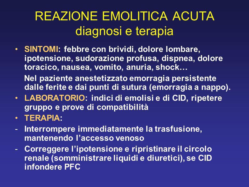 REAZIONE EMOLITICA ACUTA diagnosi e terapia