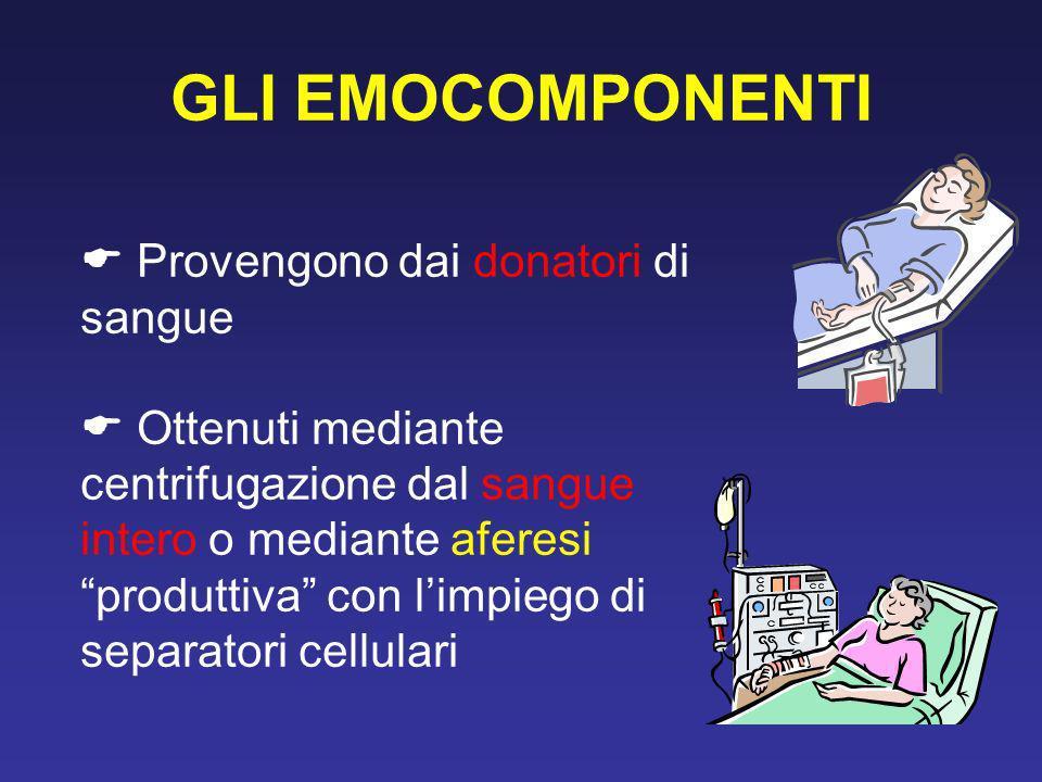 GLI EMOCOMPONENTI  Provengono dai donatori di sangue