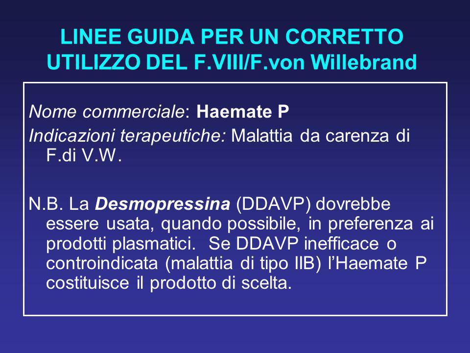 LINEE GUIDA PER UN CORRETTO UTILIZZO DEL F.VIII/F.von Willebrand
