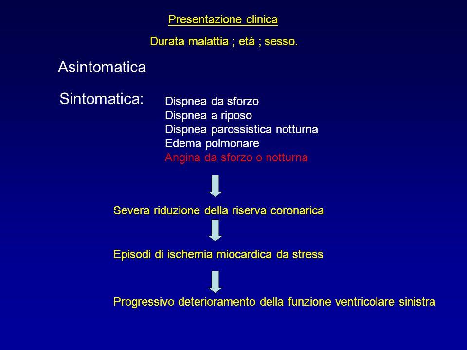 Asintomatica Sintomatica: Presentazione clinica