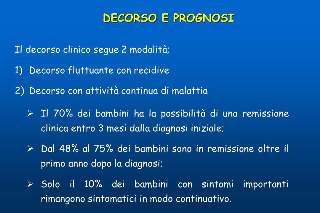 DECORSO E PROGNOSI Il decorso clinico segue 2 modalità;