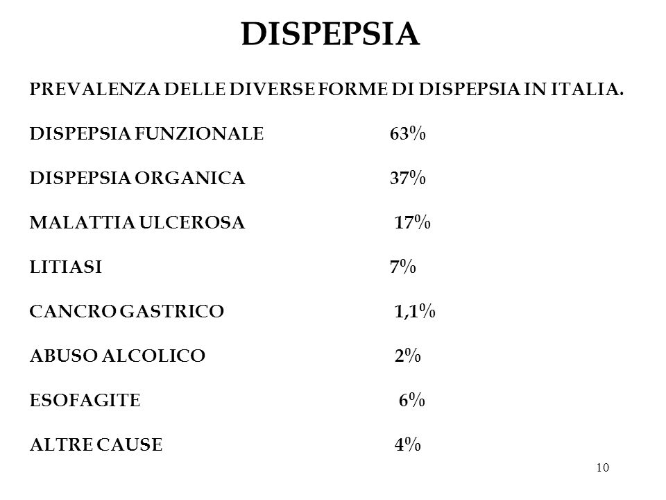 DISPEPSIA PREVALENZA DELLE DIVERSE FORME DI DISPEPSIA IN ITALIA.