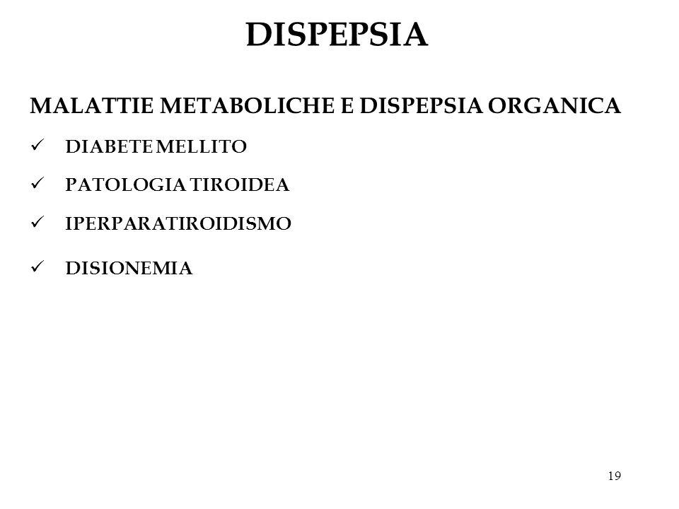 DISPEPSIA MALATTIE METABOLICHE E DISPEPSIA ORGANICA DIABETE MELLITO
