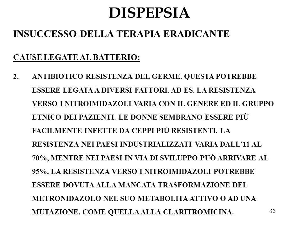 DISPEPSIA INSUCCESSO DELLA TERAPIA ERADICANTE