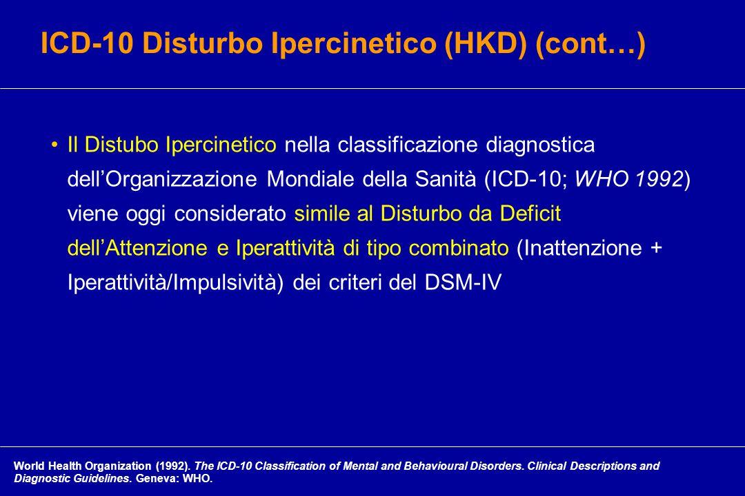 ICD-10 Disturbo Ipercinetico (HKD) (cont…)