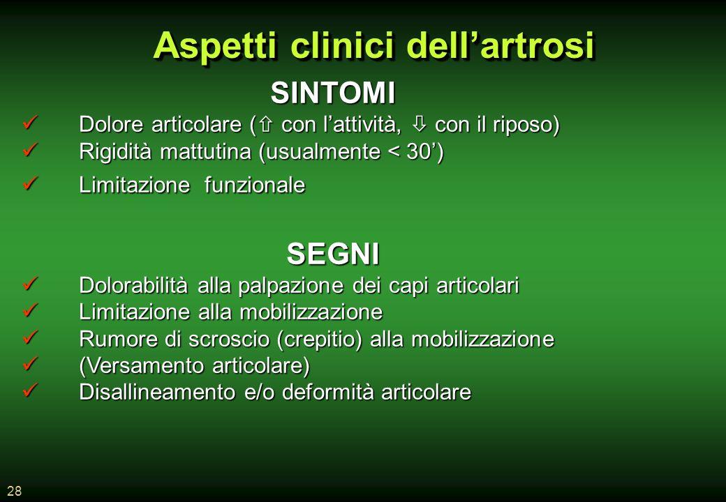 Aspetti clinici dell'artrosi