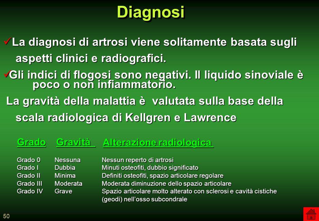 Diagnosi La diagnosi di artrosi viene solitamente basata sugli