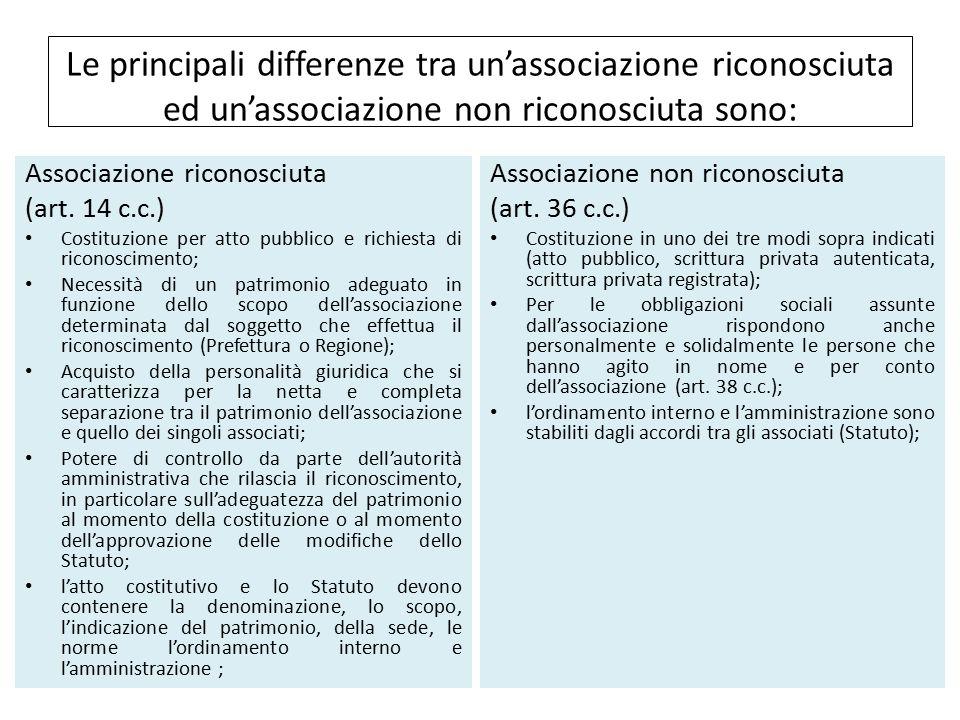Le principali differenze tra un'associazione riconosciuta ed un'associazione non riconosciuta sono: