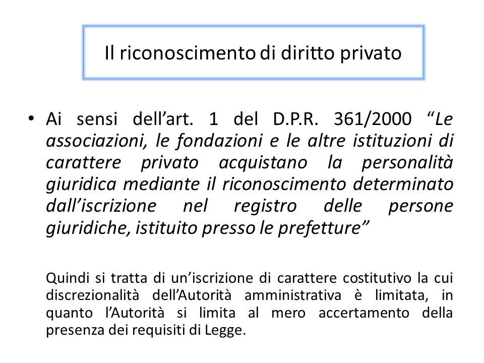 Il riconoscimento di diritto privato