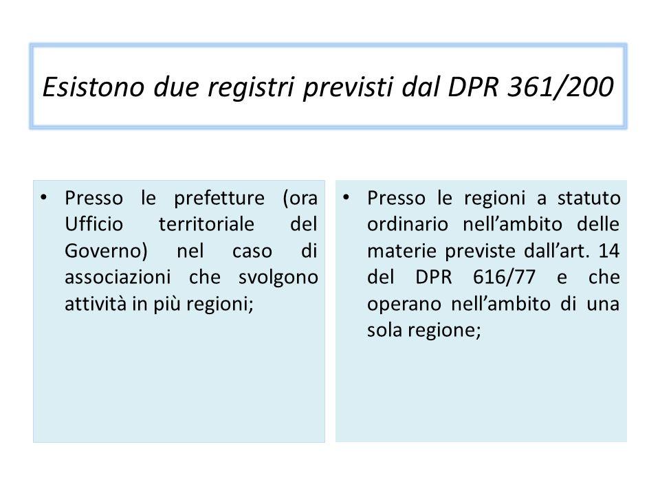 Esistono due registri previsti dal DPR 361/200