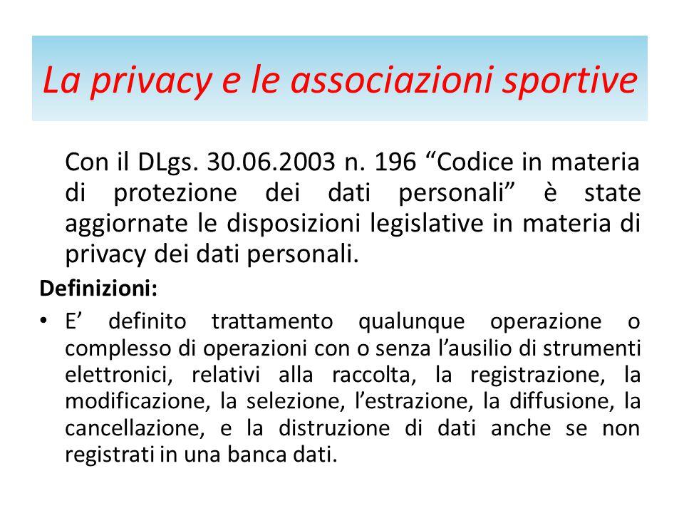La privacy e le associazioni sportive