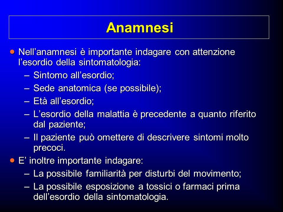 Anamnesi Nell'anamnesi è importante indagare con attenzione l'esordio della sintomatologia: Sintomo all'esordio;