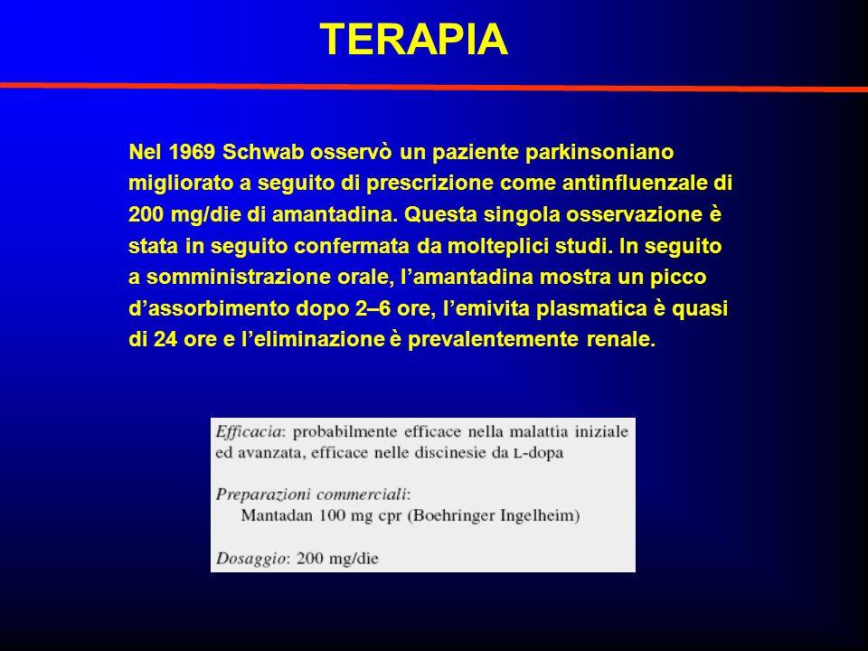 TERAPIA Nel 1969 Schwab osservò un paziente parkinsoniano