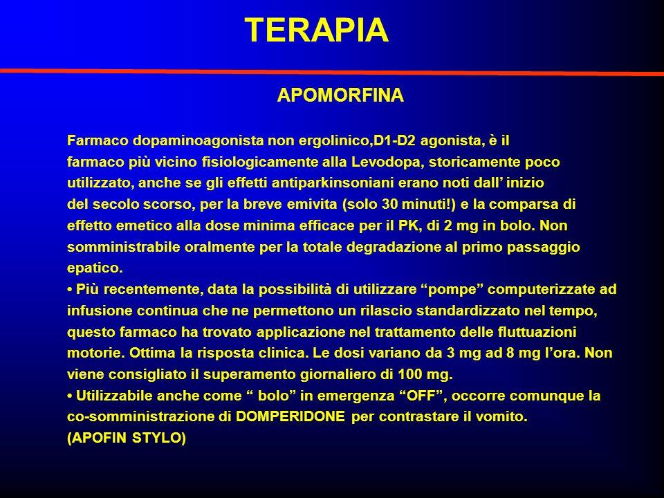 TERAPIA APOMORFINA. Farmaco dopaminoagonista non ergolinico,D1-D2 agonista, è il.