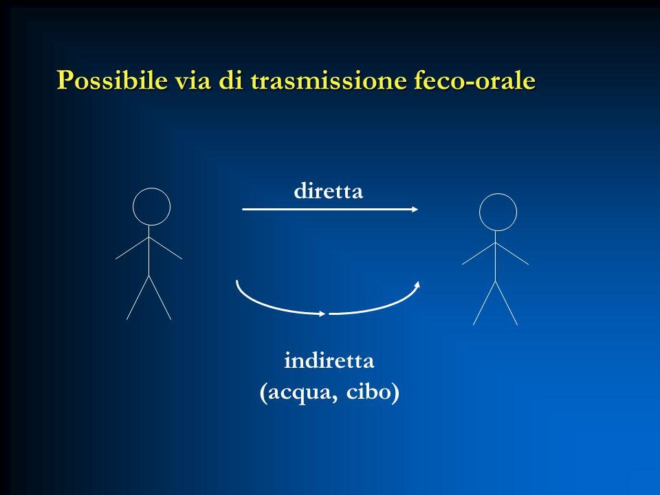Possibile via di trasmissione feco-orale