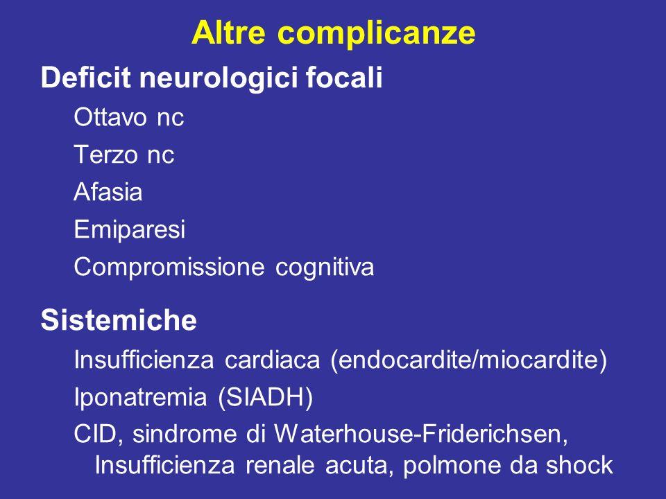 Altre complicanze Deficit neurologici focali Sistemiche Ottavo nc