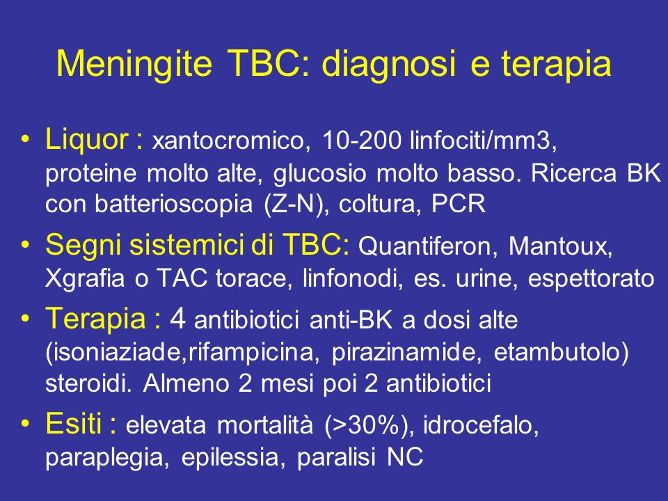 Meningite TBC: diagnosi e terapia