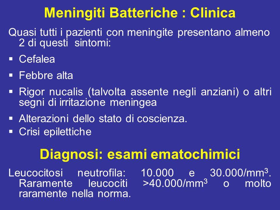 Meningiti Batteriche : Clinica Diagnosi: esami ematochimici