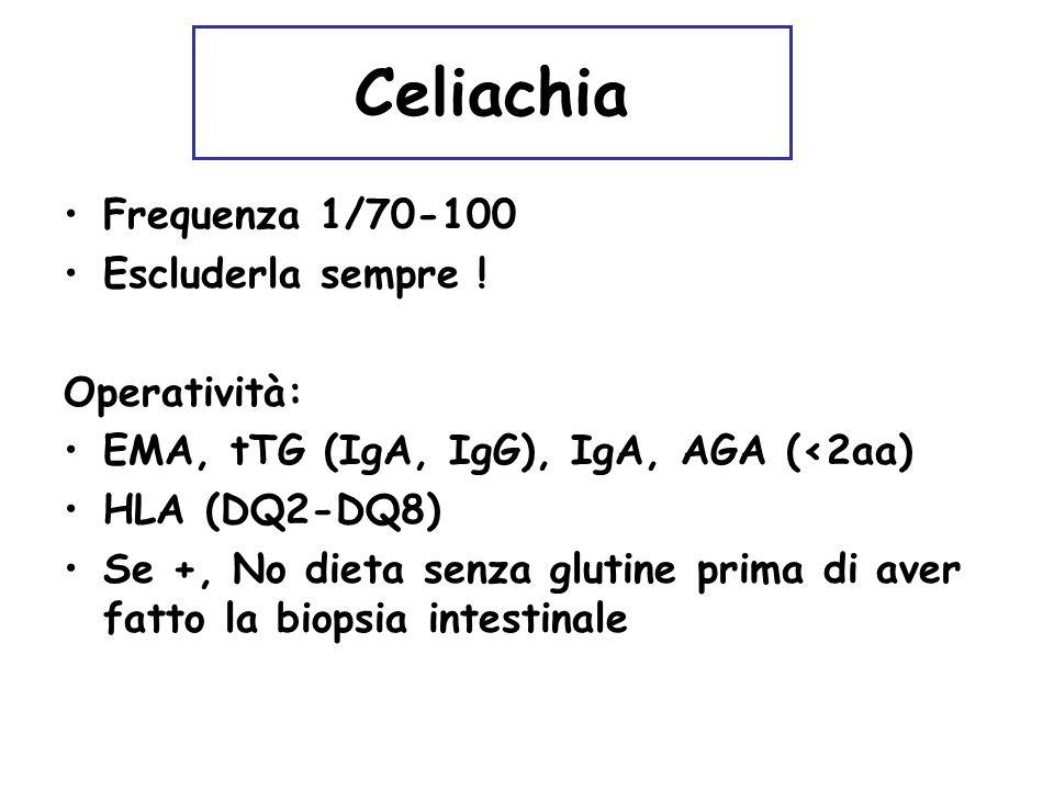 Celiachia Frequenza 1/70-100 Escluderla sempre ! Operatività: