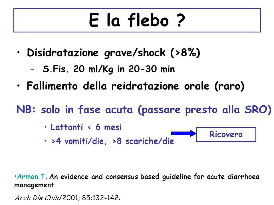 E la flebo Disidratazione grave/shock (>8%)