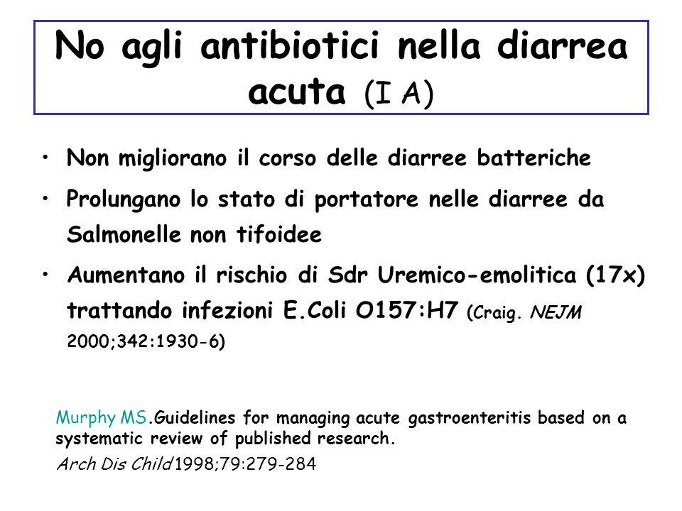 No agli antibiotici nella diarrea acuta (I A)