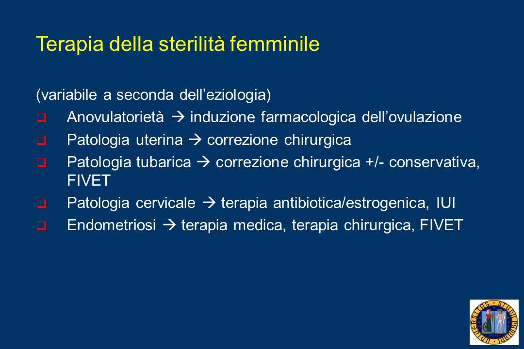 Terapia della sterilità femminile